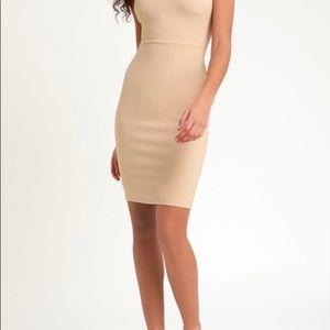 Nude sleeveless bodycon dress
